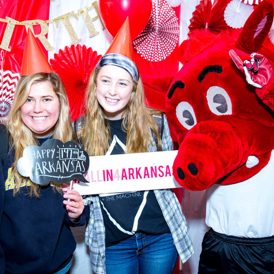 Students celebrate the university's giving day, All In for Arkansas