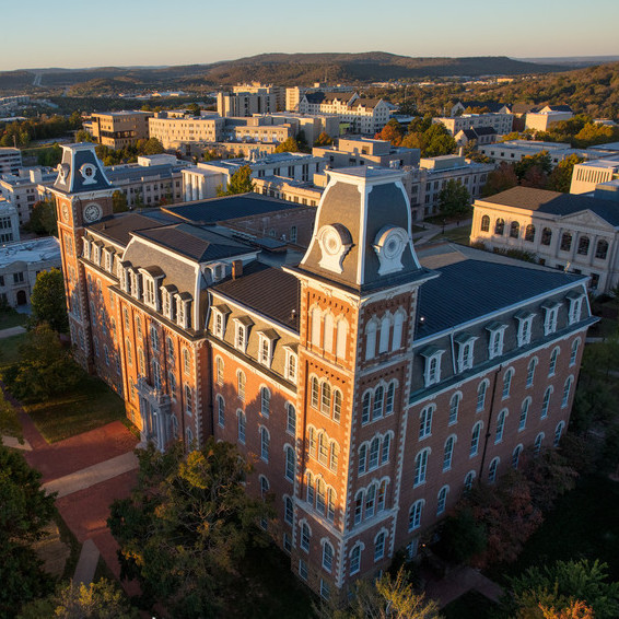 An aerial view of Old Main and the University of Arkansas campus